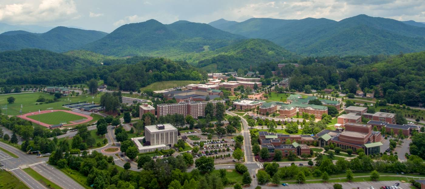 View of WCU Cullowhee Campus buildings with mountains in the background
