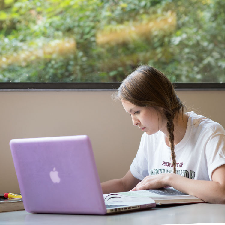 An online student studying