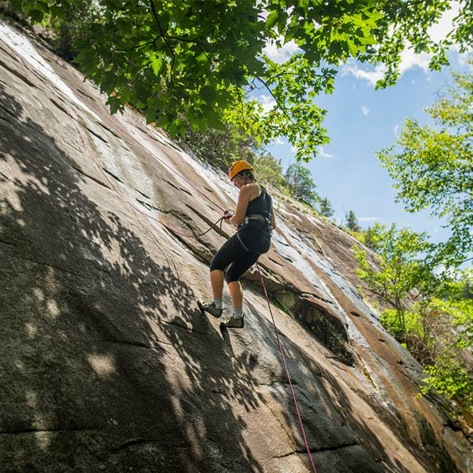 Student in Base Camp Cullowhee's First Ascent Program Climbing Panthertown