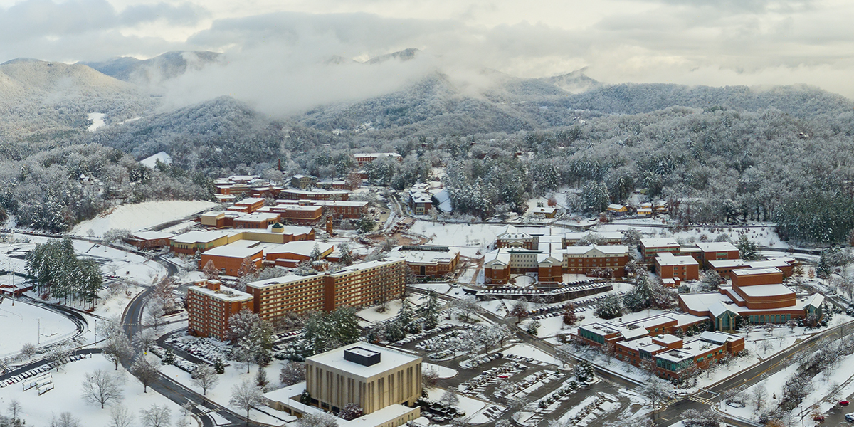 Aerial photograph of campus in the snow