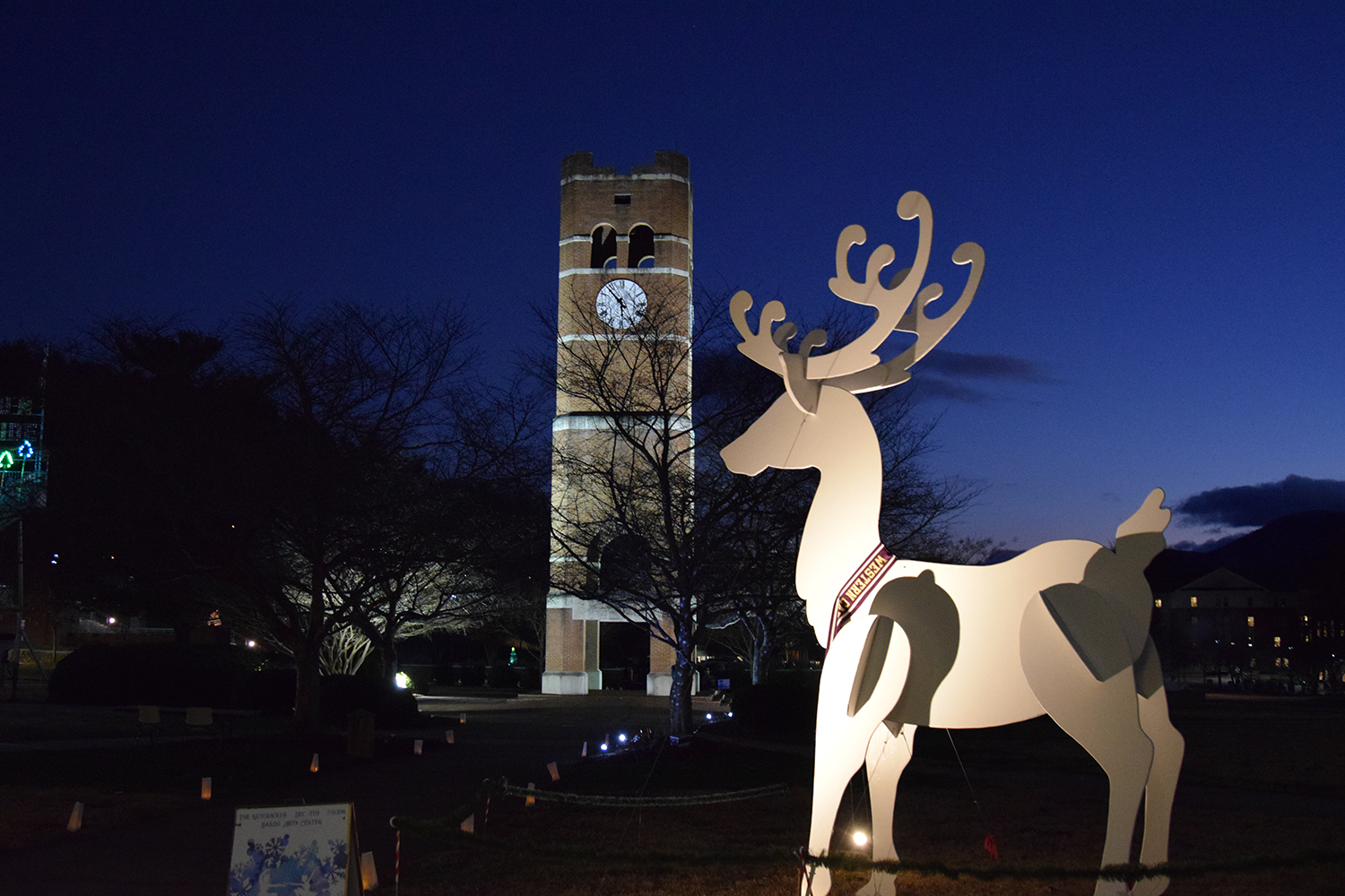 10 foot reindeer outside of the University Center at Holidays at the UC in front of Alumni Tower